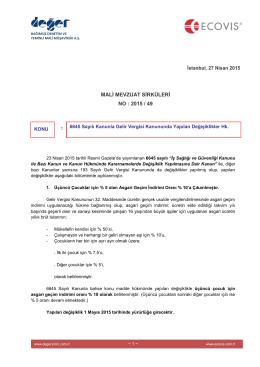 2015-49 6645 Sayılı Kanunla Gelir Vergisi Kanununda Yapılan