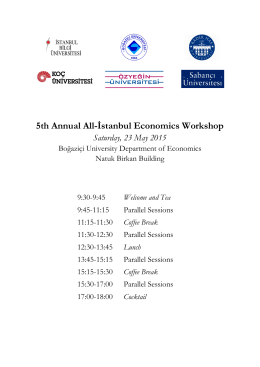 5th Annual All-İstanbul Economics Workshop