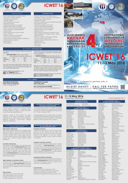 All participants to ICWET`16 must register using online