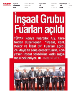 Yayın Adı : Konya Merhaba Yayın Tarihi : 22.05.2015 Küpür