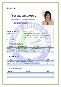 Yrd.Doç.Dr. Derya YANMIŞ - Giresun Üniversitesi Espiye MYO