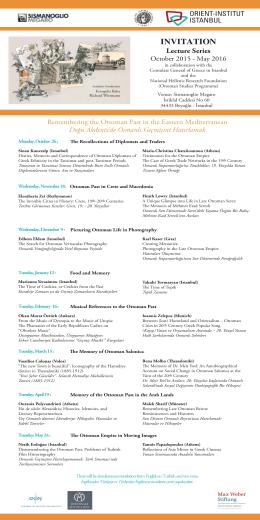 INVITATION Lecture Series - Orient Institut Istanbul