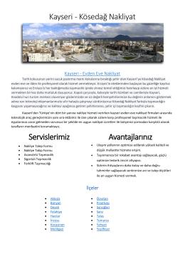 Kayseri - Kösedağ Nakliyat Servislerimiz Avantajlarınız