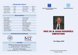 Prof. Dr. Hasan Boduroğlu Sempozyumu Duyurusu