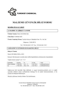 Turoksi Kimya Demir II Sulfat MSDS