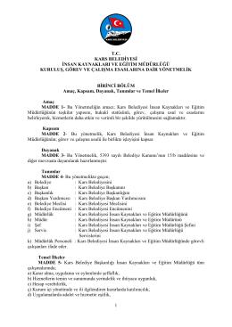 1 tc kars belediyesi insan kaynakları ve eğitim müdürlüğü kuruluş