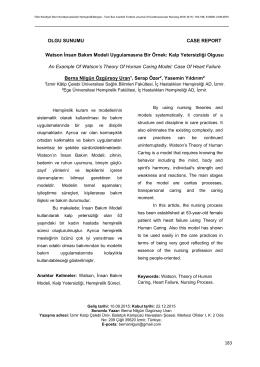 183 OLGU SUNUMU CASE REPORT Watson İnsan Bakım Modeli