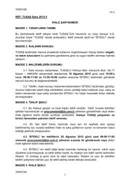 REF: TUSAŞ Satış 2015-3 İHALE ŞARTNAMESİ MADDE 1