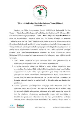 Türk-Afrika Düşünce Kuruluşları Buluşması Sonuç