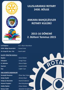 Temmuz 2015 Bülten No:2 - ankara bahçelievler rotary kulübü