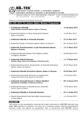 Bil-TEK 2015 Program - BİL-TEK Endüstriyel Teknik Eğitim ve