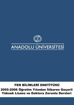 2005-2006 Öğretim Yılı Geçerli Yüksek Lisans ve Doktora
