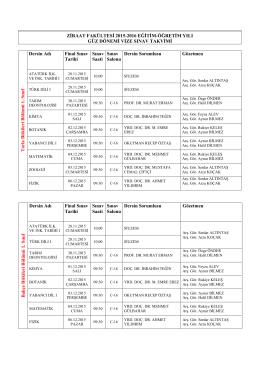 Vize Sınav Takvimi (Güncel)
