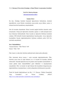 T. C. Marmara Üniversitesi Ortadoğu ve İslam Ülkeleri Araştırmaları