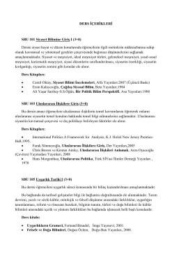 Ders içerikleri (TR) - İnsan ve Toplum Bilimleri Fakültesi – Üsküdar