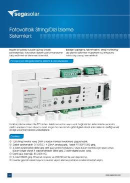 Fotovoltaik String/Dizi İzleme Sistemleri: