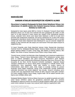 Karsan Ataklar Budapeşte`de Hizmete Alındı 24.11.2015