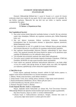 OTM Staj Yönergesi - Otomotiv Mühendisliği Bölümü