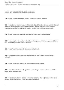 Osman Bey Dönemi Kronolojisi