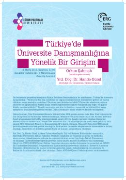 Türkiye`de Üniversite Danışmanlığına Yönelik Bir Girişim