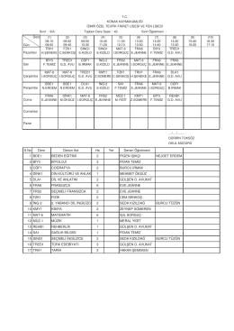 9-A Sınıfı Ders Programı