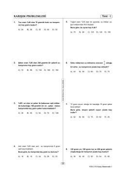 KARIŞIM PROBLEMLERİ Test -1
