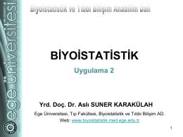 Uygulama II - Biyoistatistik ve Tıbbi Bilişim Anabilim Dalı
