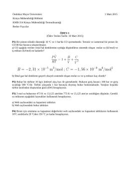 Ödev -1 : Termodinamik 1 tekrarı (pdf, 39 kb, 1.03.2015)