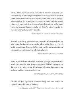 Jeremy Rifkin, İşbirlikçi Ortak Kaynaklar`ın, İnternet