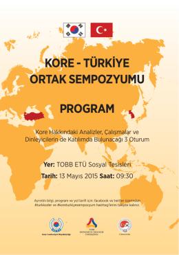 kore - türkiye ortak sempozyumu program