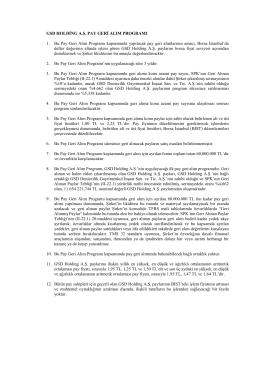 29.05.2015 Tarihli Yönetim Kurulu Kararıyla Hazırlanan Pay Geri