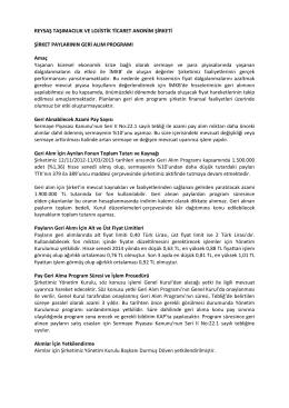 REYSAS HİSSE GERİ ALIM PROGRAMI