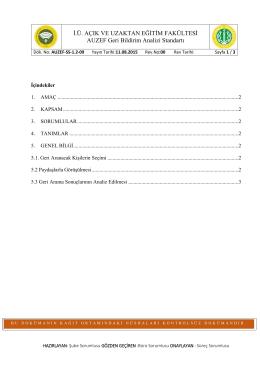 AUZEF-SS-1.2-09 AUZEF Geri Bildirim Analizi Standardı