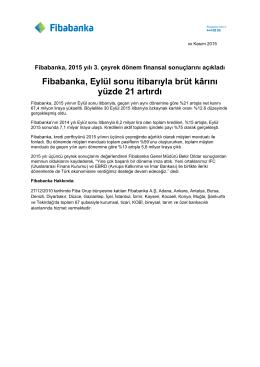 Fibabanka, 2015 Yılı 3. Çeyrek Dönem Finansal Sonuçlarını Açıkladı