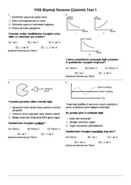 YGS Biyoloji Deneme Çözümlü Test 1
