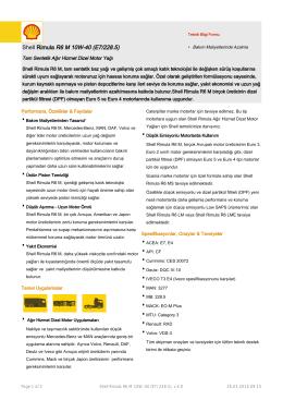 Page 1 Teknik Bilgi Formu Shell Rimula R6 M 10W