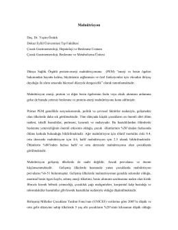 Malnütrisyon - Prof. Dr. Yeşim Öztürk, MD.