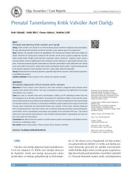 Prenatal Tanımlanmış Kritik Valvüler Aort Darlığı