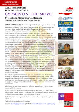 Special Sessions CfP: Gypsies - Turkish Migration Conference 2016