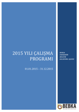 2015 yılı çalışma programı
