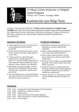 Katılımcılar için Bilgi Notu