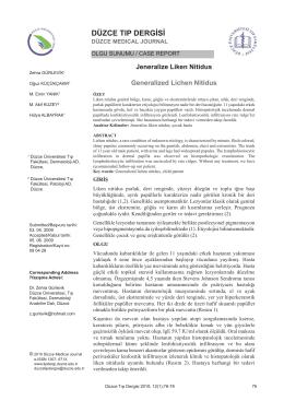 Jeneralize Liken Nitidus - Düzce Üniversitesi Tıp Fakültesi Dergisi