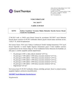 VERGİ SİRKÜLERİ NO: 2015/77 TARİH: 01/09/2015 KONU Kıdem