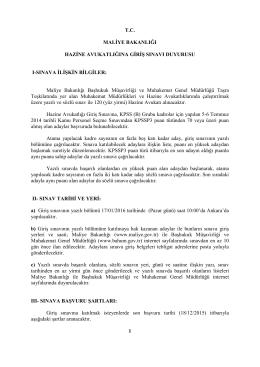 Sınav İlanı - Başhukuk Müşavirliği ve Muhakemat Genel Müdürlüğü