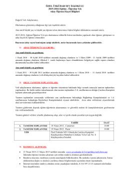 ÖZEL ÜSKÜDAR SEV İLKOKULU 2015-2016 Eğitim