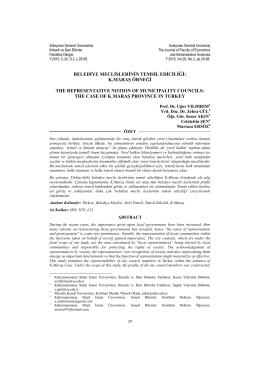 Belediye Meclislerinin Temsil Ediciliği: K.Maraş Örneği
