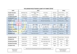 ted çorum koleji ilkokul şubat ayı yemek listesi