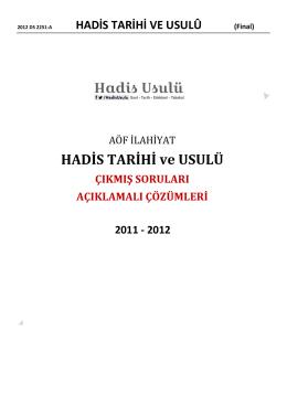 2011 – 2012 Dönemi Final Sınavı Soruları ve Çözümlü Cevapları