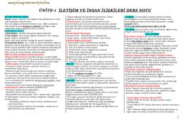 ÜNİTE-1 İLETİŞİM VE İNSAN İLİŞKİLERİ DERS NOTU