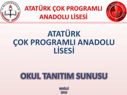 Okul Tanıtım Sunusu - BEKİLLİ - Bekilli Atatürk Çok Programlı